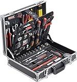 Meister Werkzeugkoffer 129-teilig - Stabiler Alu-Koffer - Werkzeug-Set - Für Haushalt, Garage & Werkstatt / Profi Werkzeugkoffer befüllt / Werkzeugkiste / Werkzeugbox komplett mit Werkzeug / 8971410